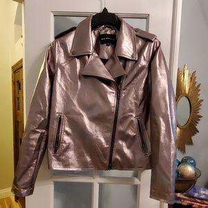 Bronze pleather zip up jacket